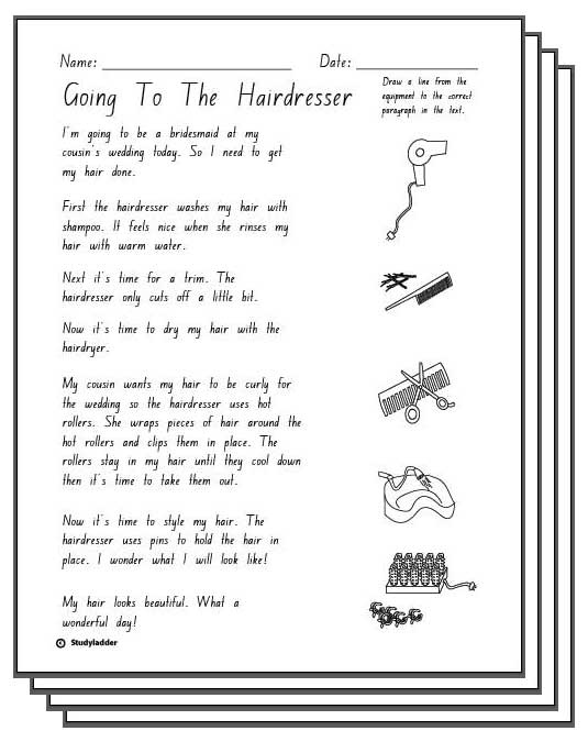 Going To The Hairdresser -Reading Response Activity Sheets, English skills online, interactive ...