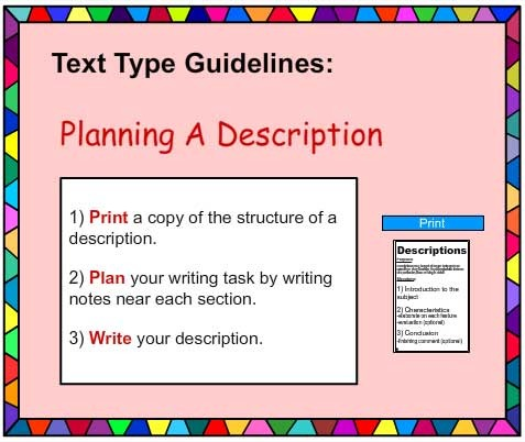 english descriptive writing coursework English writing skills is a language course which is designed for anyone wanting to improve their writing, or english students who wish to enhance their essay-writing abilities covering a number of different styles of writing, including comedy, descriptive, spy, thriller, instructional text.