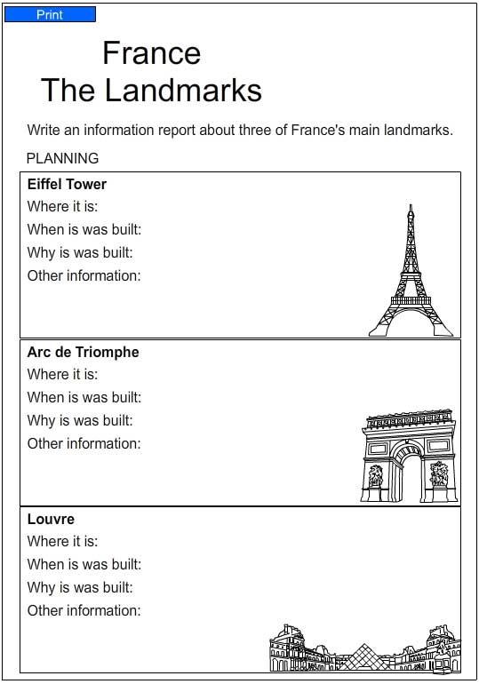 landmarks in france english skills online interactive