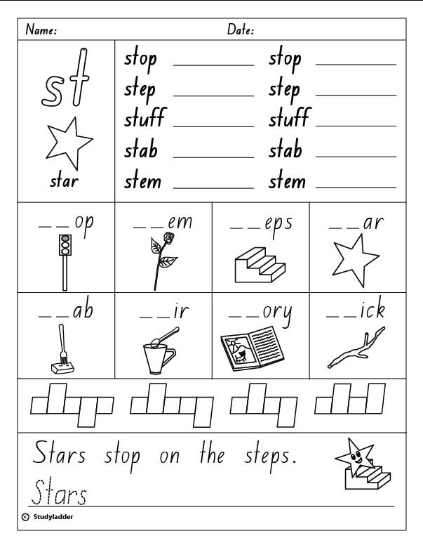 Free Worksheets study ladder worksheets : Consonant Blend u0026quot;stu0026quot;, English skills online, interactive ...