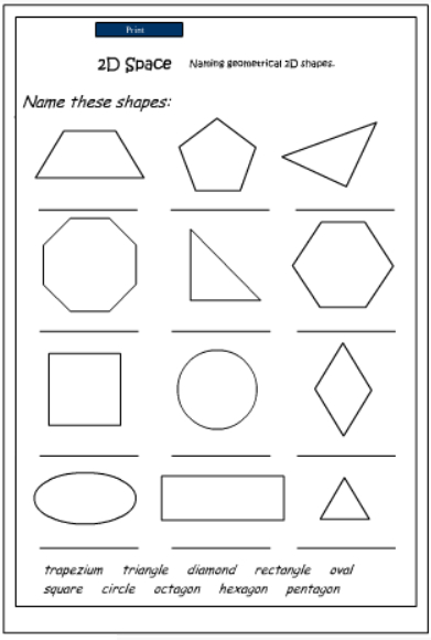 Naming 2d Shapes Mathematics Skills Online Interactive