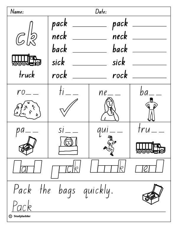 "Ck+Digraph+Worksheets Consonant digraph ""ck"" (Words ending in ""ck"")"