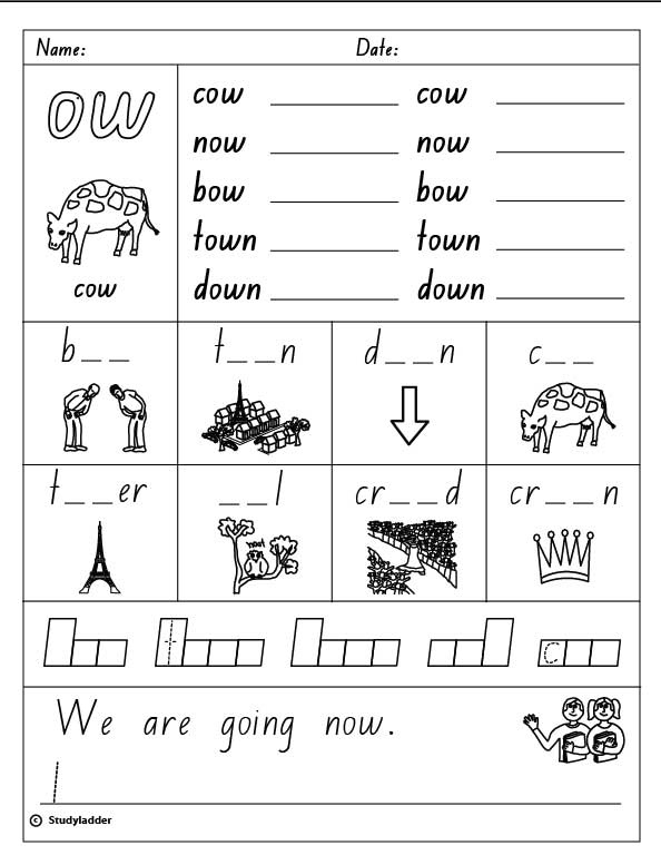 """Vowel Digraph """"ow"""", English skills online, interactive ..."""