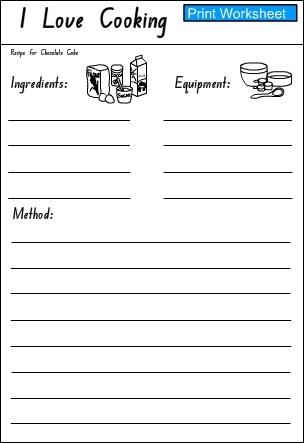 Love Cooking - Response Activity Sheet 1 (My Activity Sheet 1)