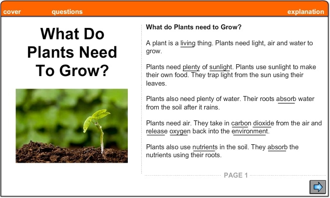 what do plants need to grow explanation english skills online interactive activity lessons. Black Bedroom Furniture Sets. Home Design Ideas