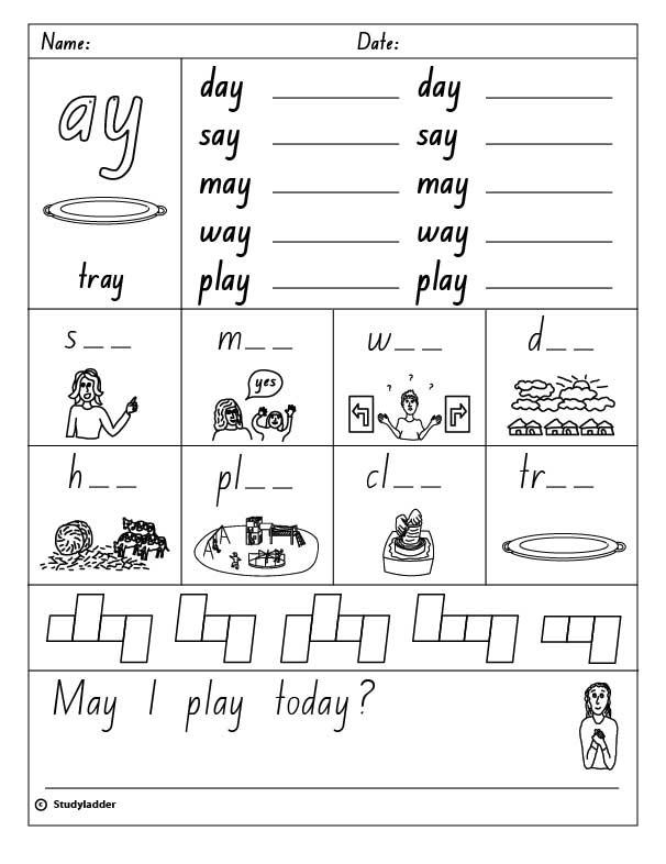 "Digraph ""ay"", English skills online, interactive activity lessons"