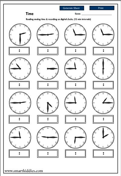 Recording digital time after reading an analog clock, Mathematics ...