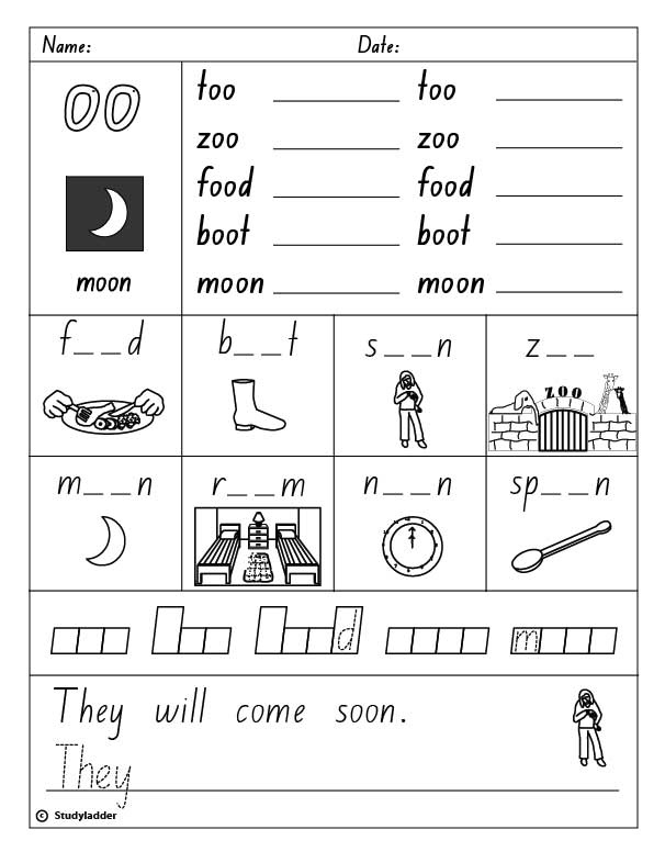 """Vowel Digraph """"oo"""" as in moon (Words containing """"oo"""" as in moon)"""