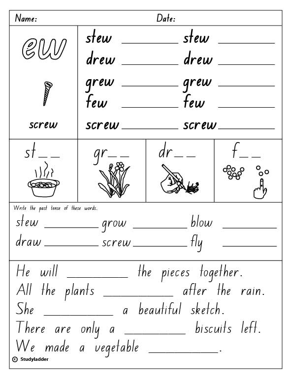 "Vowel Digraph ""ew"", English skills online, interactive"