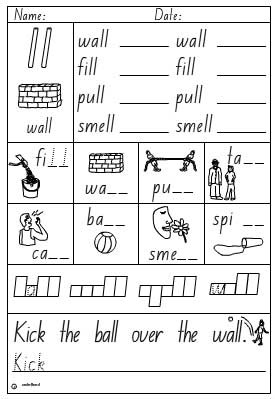 Activity Sheet- Double Consonant ll - Click to download.