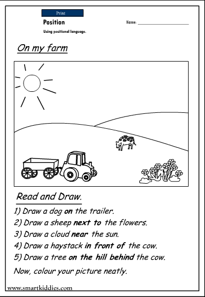 Positional Words Worksheets For Kindergarten | ABITLIKETHIS