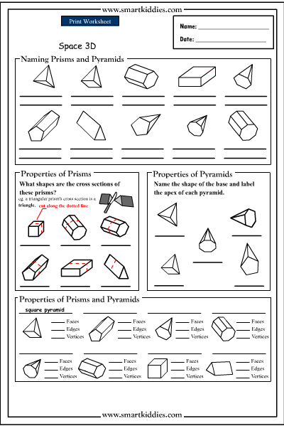 Prisms And Pyramids Worksheets on net prisms worksheets