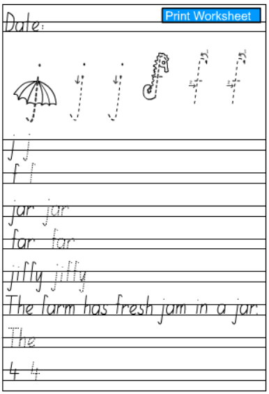 Handwriting sheets ks1