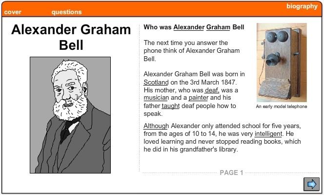 Alexander Graham Bell -Biography, English skills online, interactive ...